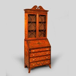 A satinwood bureau bookcase with handpainted decoration in Sheraton taste, c1905