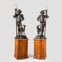 A pair of finely patinated spelter courtier by Miroy Freres. c1880