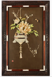 A Japanese lacquer panel with a basket of flowers and a peony, Ht 30in
