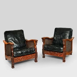 A pair of French art nouveau mahogany and mother of pearl Klismos chairs, c1890.
