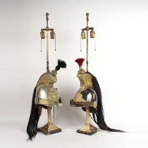 Two silvered 19th century metal Cuirassier Officers helmets. c1850