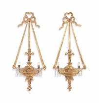 A pair of 19th century gilt wood three-light wall appliques. c1890