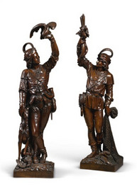 A fisherman and a falconer by Mazaroz, French c1880. Ht 62in