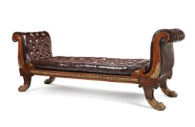 A Regency simulated rosewood and parcel gilt daybed. c1815