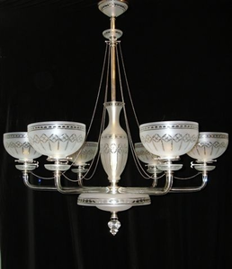 One of a Pair etched gasoliers by Osler and Sons, c1870
