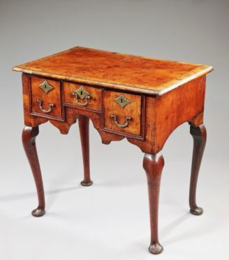 Wooden Table with Gold details