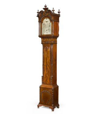 Antique A Mahogany Long Case 'tide' Clock