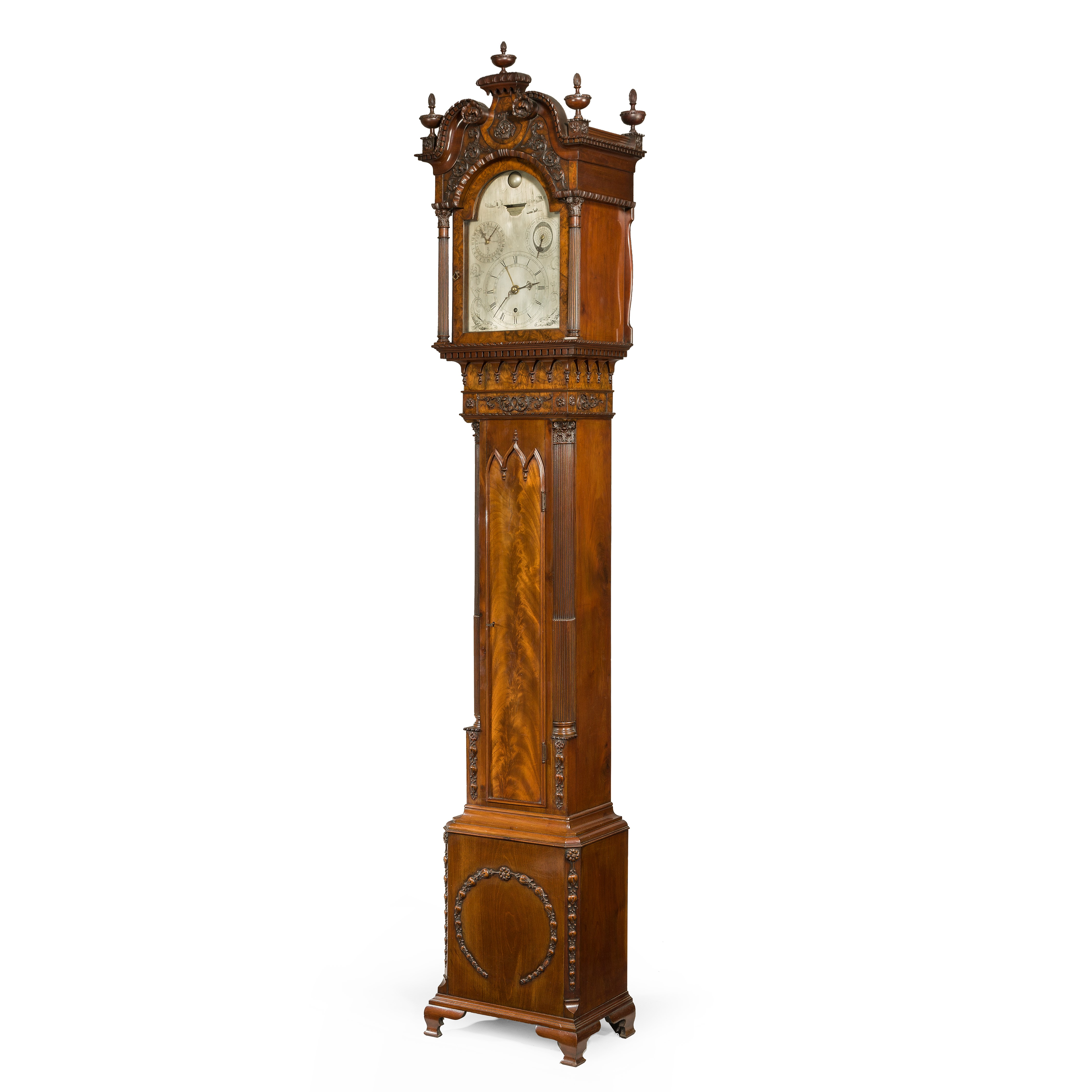 Antique A Mahogany Long Case 'tide' Clock