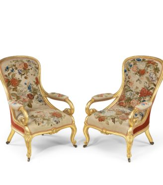 Victorian gilt wood and needlework arm chairs by Gillows,