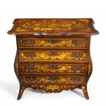Period Dutch Mahogany Four-Drawer Bombe Marquetry Commode Front top