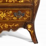 Period Dutch Mahogany Four-Drawer Bombe Marquetry Commode Leg