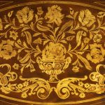 Period Dutch Mahogany Four-Drawer Bombe Marquetry Commode Detail