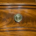Close up George III Figured Mahogany Serpentine Commode Attributed to Henry Hill