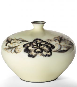 A Showa period grey and cream cloisonné vase