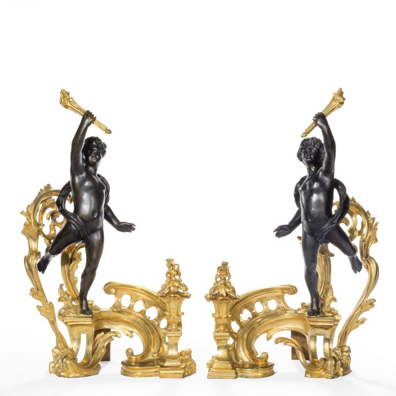 A pair of late 19th century ormolu and bronze chenets