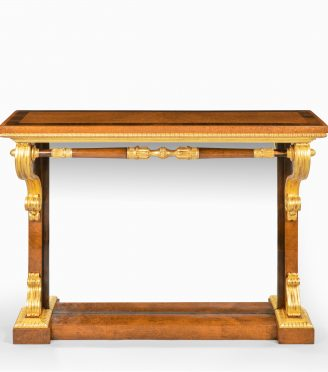striking George IV amboyna, rosewood and gilt console table attributed to Morel and Seddon,
