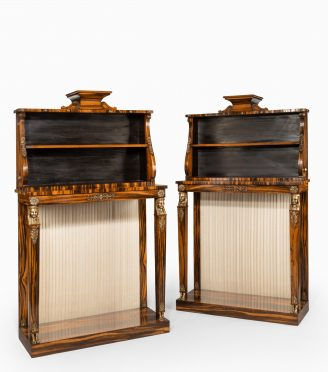 Regency coromandel and ormolu bookcase console tables in the style of Thomas Hope