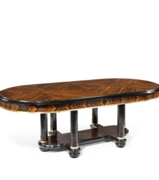 A stylish Art Deco zebra wood centre or dining table main