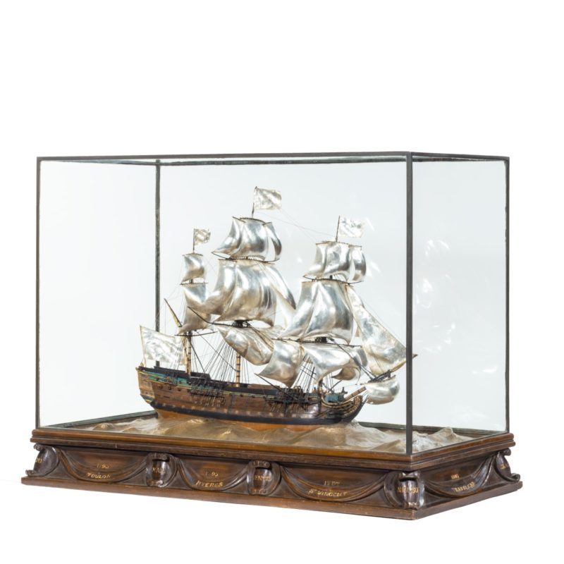A silver and wood model of HMS Victory by H Wylie,