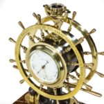Victorian double steering-wheel desk clock and barometer racing trophy top