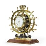Victorian double steering-wheel desk clock and barometer racing trophy main 2