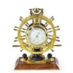 Victorian double steering-wheel desk clock and barometer racing trophy front