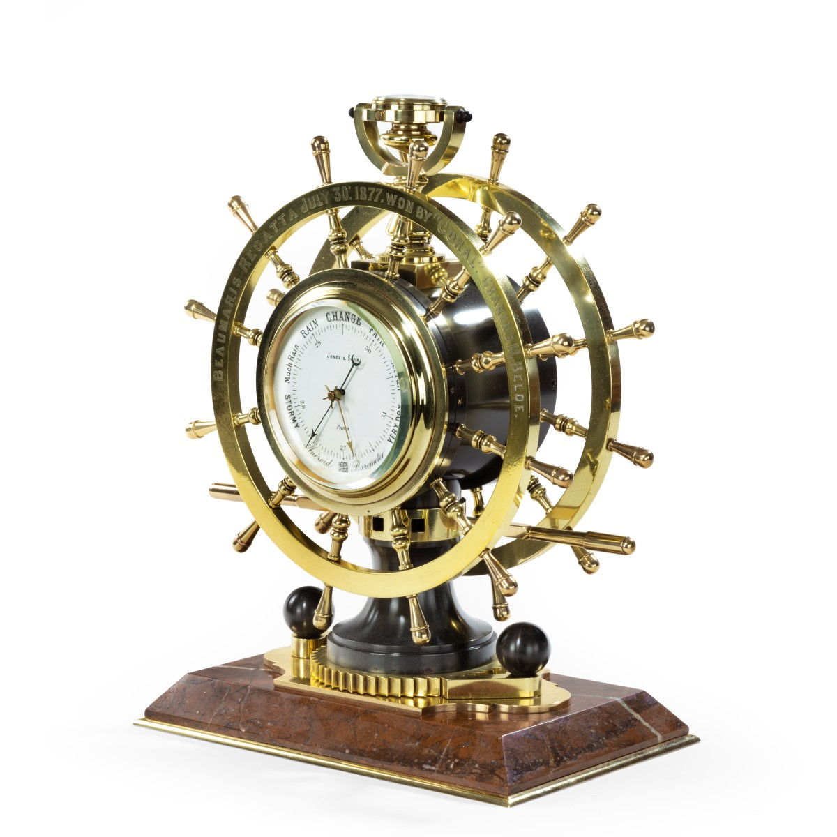 Victorian double steering-wheel desk clock and barometer racing trophy main