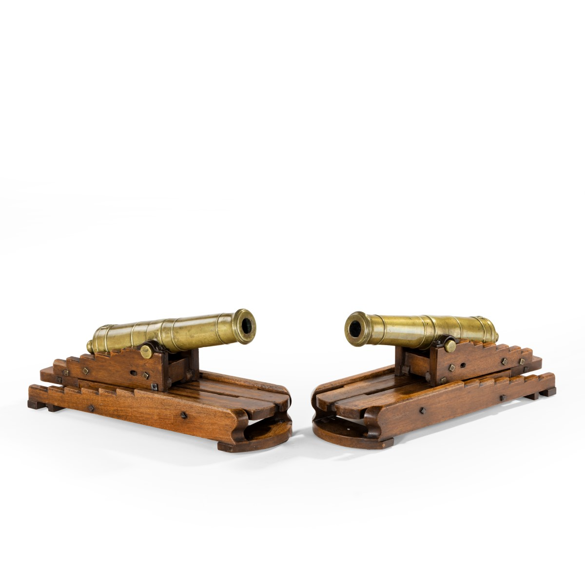 pair of brass 19th century models of ship's 32-pounder cannon