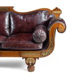 A George IV brass inlaid rosewood country house three-seater sofa attributed to Gillows side
