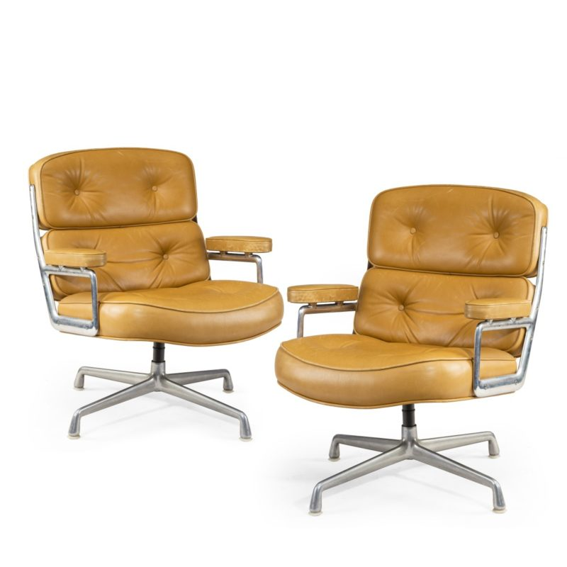 """A set of twelve swivel """"Time Life Chairs"""" or lounge chairs, designed by Charles & Ray Eames for Herman Miller in 1960"""