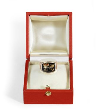 enamel and gold Nelson memorial ring made for his aunt, Mrs Thomasine Goulty