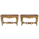 giltwood console tables with original marble tops bottom pair small