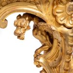 giltwood console tables with original marble tops foliate