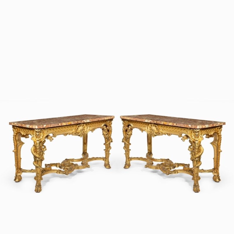 giltwood console tables with original marble tops