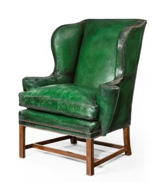 Green antique armchair