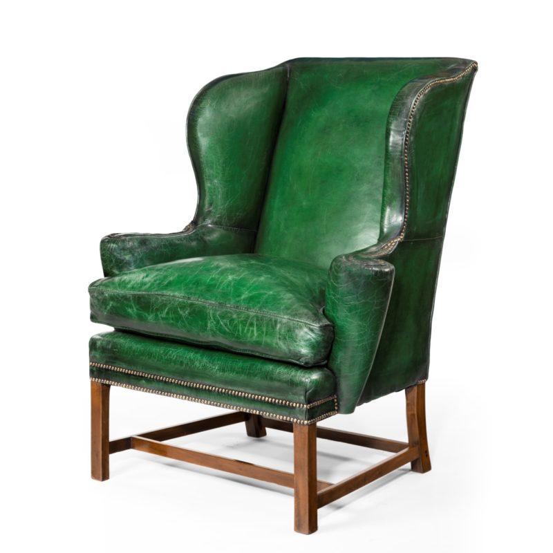 Green antique armchair