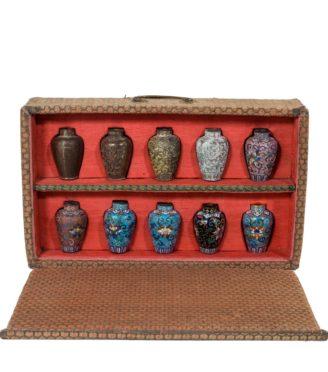 A Japanese cloisonné sample set, comprising 10 small metal vases Meiji period, c1900.