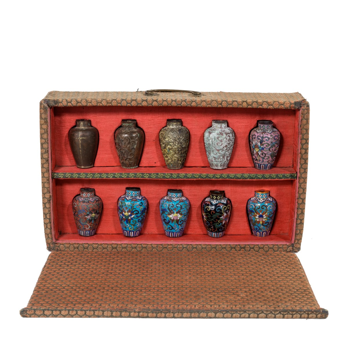 A Japanese cloisonné sample set, comprising 10 small metal vases Meiji period, c1900.