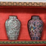 A Japanese cloisonné sample set, comprising 10 small metal vases 2