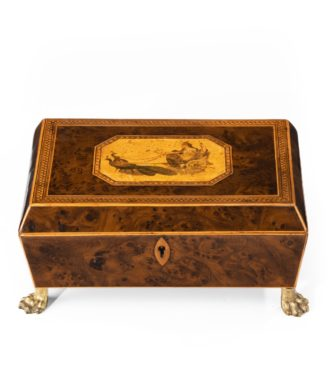 A Regency burr-yew wood workbox main