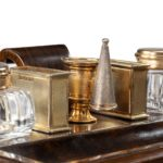 A stylish William IV rosewood and silver-gilt portable desk compendium detail