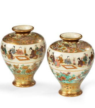 Satsuma earthenware vases