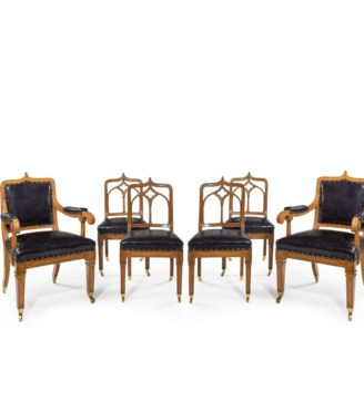 A set of six Gothic oak dining chairs main