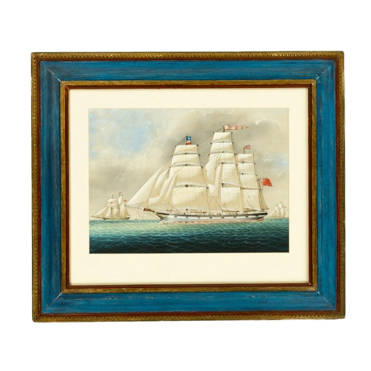 A fine watercolour of the three masted sailing ship The SS City of Manchester.