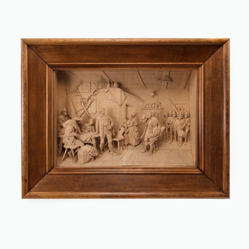 A large and superb quality walnut-framed Tyrolean lime-wood carving