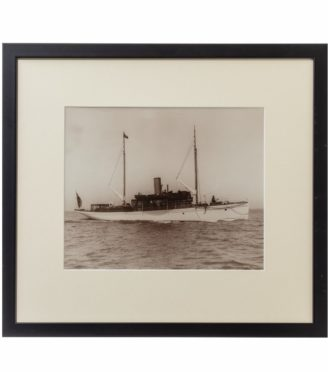 Fine original gelatin print Of a gentleman's steam yacht on passage on a calm day in the Solent.  Though not signed or carrying the impressed stamp this image came in a wonderful collection of Kirk and Sons original prints.