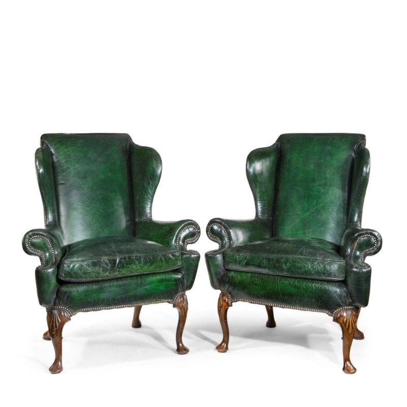 Queen Anne style antique armchairs