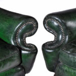 Queen Anne style antique armchairs detail
