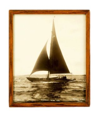 An original Photographic print of the Bermudian yacht Clodagh on Starboard tack in the Solent.