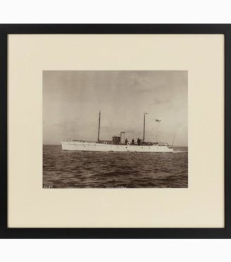 A rare original photograph by Kirks of Cowes of the Gentleman's motor yacht. Circa 1920